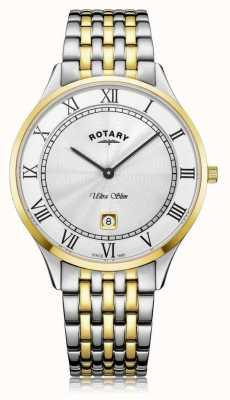 Rotary | heren ultra slim | tweekleurig roestvrij staal | witte wijzerplaat | GB08301/01