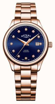 Rotary | dames oxford | rosé goud pvd verguld | blauwe zonnestraal wijzerplaat | LB05096/05/D