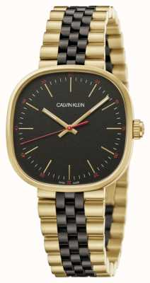 Calvin Klein | heren | vierkant | tweekleurige armband | zwarte wijzerplaat | K9Q125Z1