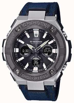 Casio | g-shock | g-staal | blauwe cordura / lederen band | GST-W330AC-2AER