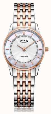 Rotary | dames ultraslanke tweekleurige armband | parelmoer | LB08302/07/D