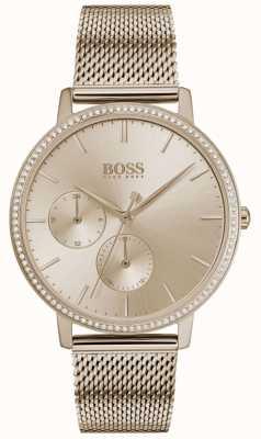 Boss | dames oneindig | rose goud gaas | roségouden zonnestraal wijzerplaat 1502519