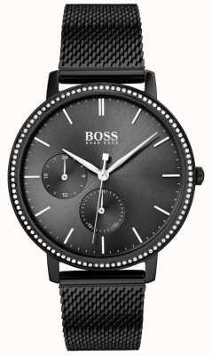 BOSS | dames oneindig | zwarte mesh armband | zwarte zonnestraal wijzerplaat 1502521