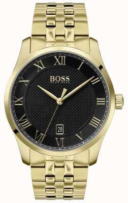 BOSS Meester | gouden pvd armband | zwarte wijzerplaat | 1513739