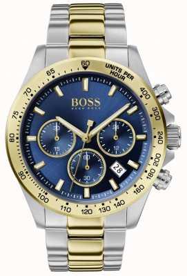 BOSS heren held sport lux | tweekleurige armband | blauwe wijzerplaat | 1513767