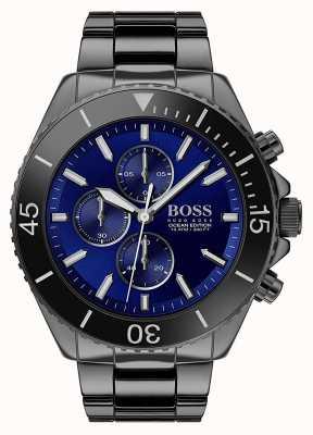 Boss | mannen oceaaneditie | zwart roestvrij staal | blauwe wijzerplaat | 1513743