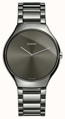 Rado Echte dunne lijn grijze keramische armband grijze wijzerplaat horloge R27955122