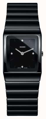 Rado | diamanten van ceramica | vierkante wijzerplaat | zwarte keramische armband | R21702702