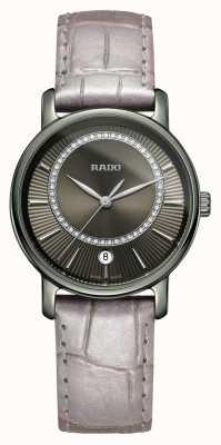 Rado | diamaster diamanten | grijze lederen band | grijze wijzerplaat | R14064715