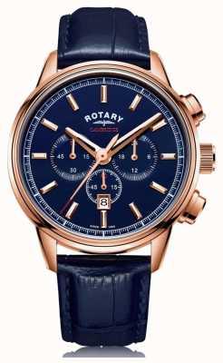 Rotary cambridge chronograaf voor heren | blauwe wijzerplaat | blauw leer | GS05399/05