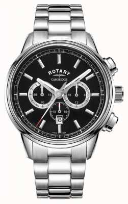 Rotary   cambridge heren chronograaf   zwarte wijzerplaat   roestvrij staal GB05395/04