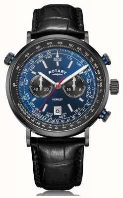 Rotary | heren henley chronograaf | blauwe wijzerplaat | zwart lederen band GS05238/05