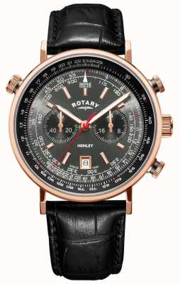 Rotary | heren henley chronograaf | grijze wijzerplaat | zwart leer | GS05237/20