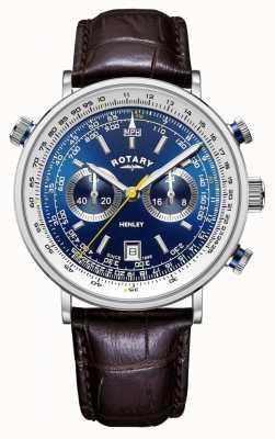 Rotary | heren henley chronograaf | blauwe wijzerplaat | bruine lederen band GS05235/05