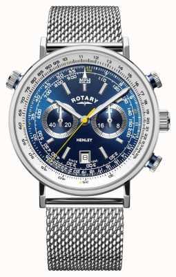 Rotary   heren henley chronograaf   stalen gaas armband   blauwe wijzerplaat GB05235/05