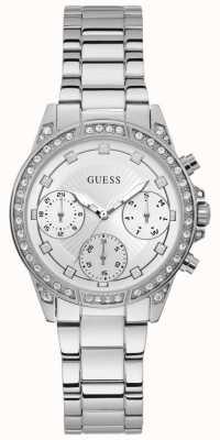 Guess | dames Gemini | roestvrij stalen armband | zilveren wijzerplaat | W1293L1