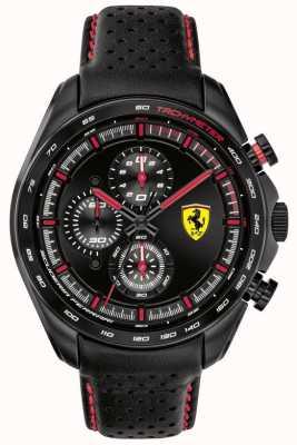 Scuderia Ferrari | heren speed-racer | zwarte lederen band | zwarte wijzerplaat | 0830647