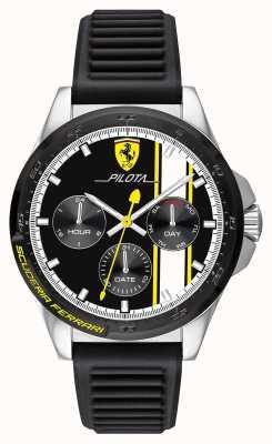 Scuderia Ferrari | heren pilota | zwarte rubberen band | zwarte chronograaf wijzerplaat 0830659