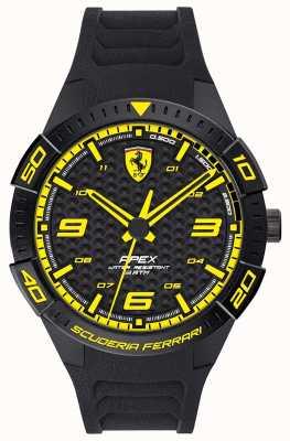 Scuderia Ferrari | top voor heren | zwarte rubberen band | zwarte / gele wijzerplaat | 0830663