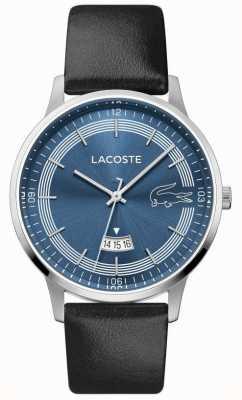 Lacoste | heren madrid | zwarte lederen band | blauwe wijzerplaat | 2011034