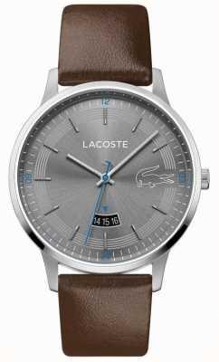 Lacoste | heren madrid | bruine lederen band | grijze wijzerplaat | 2011033