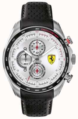 Scuderia Ferrari | heren speed-racer | zwarte lederen band | zilveren wijzerplaat | 0830651