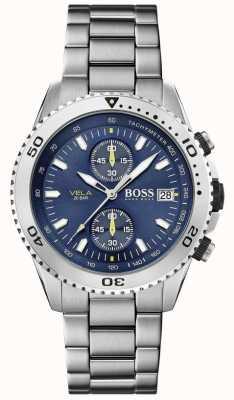 Boss | vela | chronograaf | stalen armband | blauwe wijzerplaat | 1513775