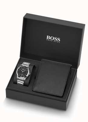 Boss | heren | horloge en zwart lederen portemonnee set 1570093