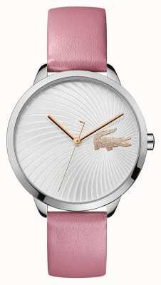 Lacoste | dames lexi | roze lederen band | zilveren wijzerplaat | 2001057
