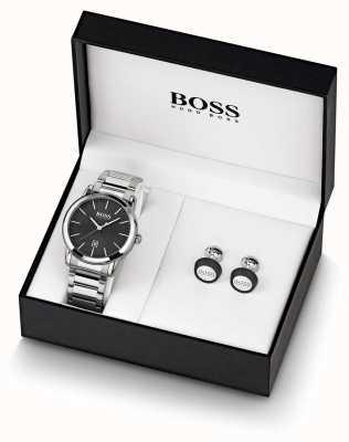 Boss | heren | zwart horloge en manchetknopen set | 1570091