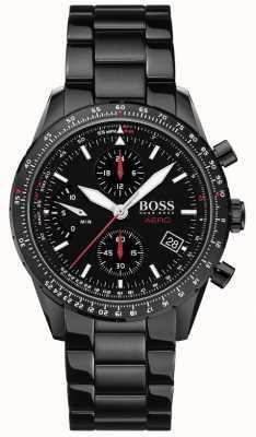 BOSS | aero | zwarte chronograaf | zwart armbandhorloge | 1513771
