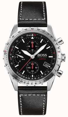 Boss | aero | zwarte chronograaf | zwarte lederen band | 1513770