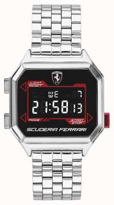 Scuderia Ferrari | heren digidrive | roestvrij stalen armband | zwarte wijzerplaat | 0830703
