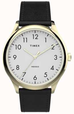 Timex | gemakkelijke lezer 40mm | zwarte lederen band | witte wijzerplaat | TW2T71700