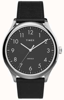 Timex | gemakkelijke lezer 40mm | zwarte lederen band | zwarte wijzerplaat | TW2T71900