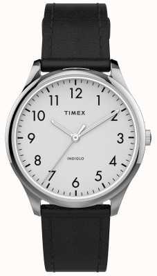 Timex | gemakkelijke lezer 32 mm | zwarte lederen band | witte wijzerplaat | TW2T72100