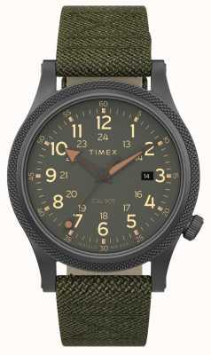 Timex | geallieerd op 40 mm | grijze kast | groene stoffen band | TW2T76000