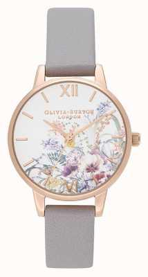 Olivia Burton | dames | betoverde tuin | grijze lila lederen band | OB16EG150