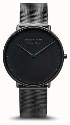 Bering | max rené | herenmat zwart | zwarte stalen armband | 15738-123