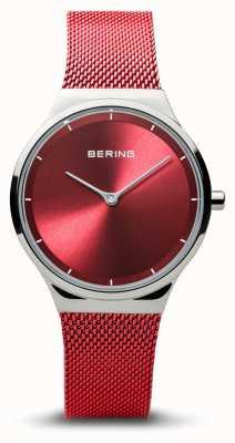 Bering | klassiek | dames gepolijst zilver | rode mesh armband | 12131-303