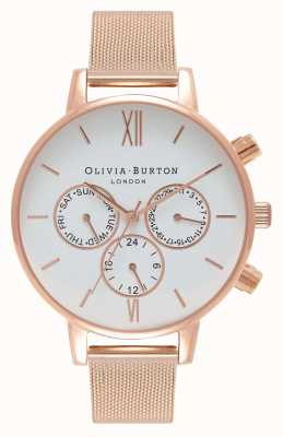 Olivia Burton Dames   witte multischijf   roos pvd gaas OB16CG86