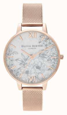 Olivia Burton | dames | terrazzo bloemen | roségouden armband van mesh | OB16TZ04