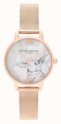 Olivia Burton | dames | geïllustreerde dieren | konijntje | rose goud gaas | OB16WL85