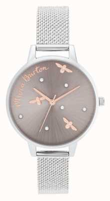 Olivia Burton | dames | parelachtige koningin | zilveren mesh armband | OB16PQ01