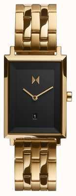 MVMT Handtekening vierkant | vergulde armband | zwarte wijzerplaat | D-MF03-GGR