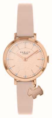 Radley Selby straat | roze lederen band | roze / rosé gouden wijzerplaat | RY2864
