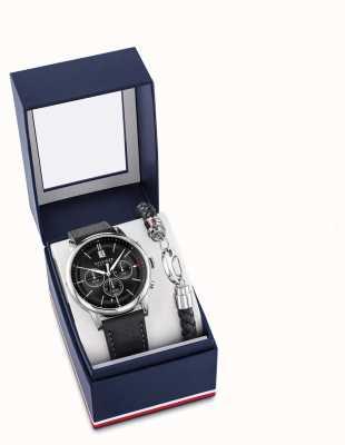 Tommy Hilfiger Zwart lederen horloge en armband cadeauset voor heren 2770058