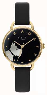 Radley Houten straat | zwarte lederen band | zwarte wijzerplaat hond motief | RY2876