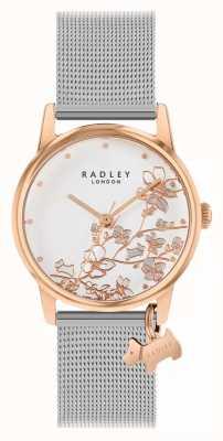 Radley Botanische bloemen | zilveren mesh armband | witte bloemen wijzerplaat RY4399
