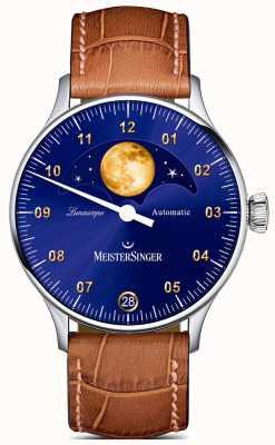MeisterSinger Lunascope | blauwe wijzerplaat | bruine lederen band LS908G